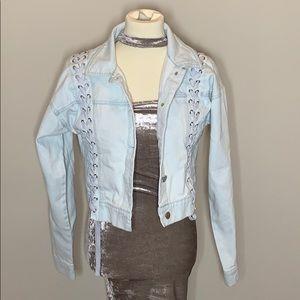 Light blue jean jacket with stitch